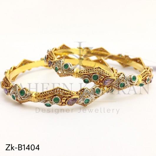 Amethyst Emerald Zircon Bangle