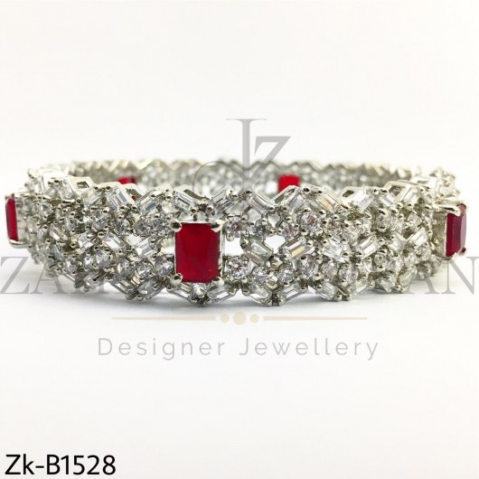 Elegant Silver ruby bangle