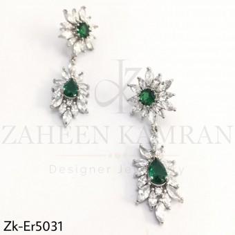 Sterling emerald danglers