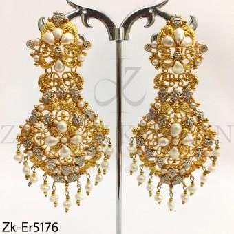 Elegant Gold pearl Danglers