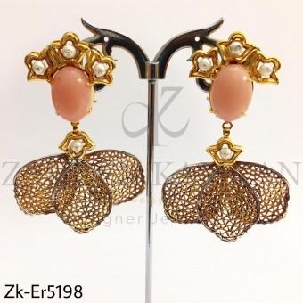 Peech leaf earrings