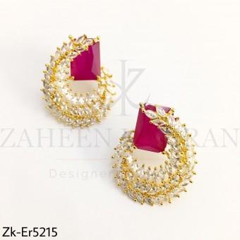 Elegant Ruby Zirconia Earrings