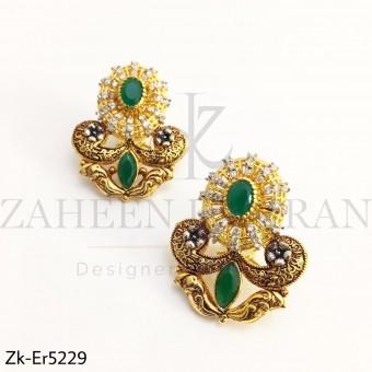 Emerald Gold Earrings