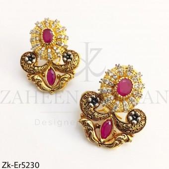 Elegant Ruby Gold Earrings