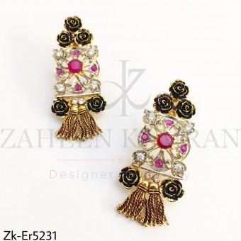 Ruby floral earrings