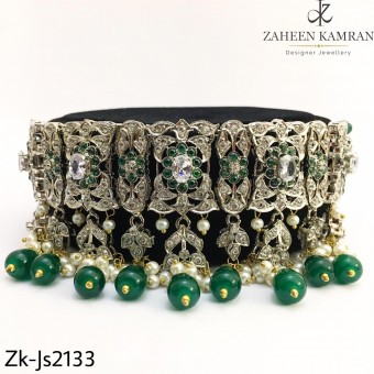 Silver Emerald Choker Set