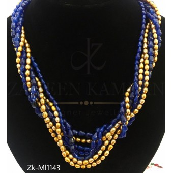 Sapphire golden beads mala