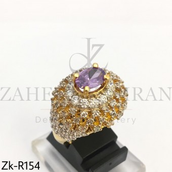Amethyst Zirconia Ring