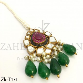 Kundan emerald tikka