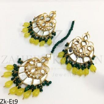 Kundan seesh earrings tikka