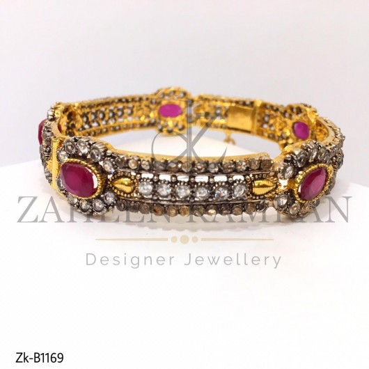22K Ruby Zircons Antique Traditional Bangle
