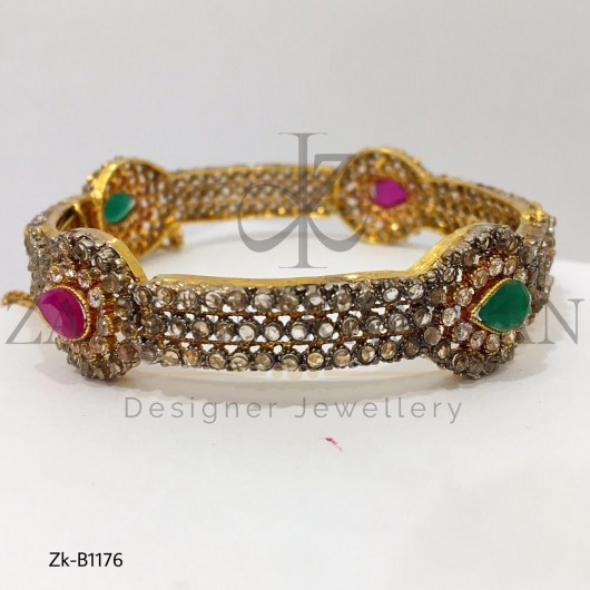 22K Ruby Emerald with Zircons Antique Traditional Bangle