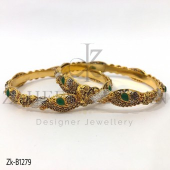 Pear Emerald Antique Bangles