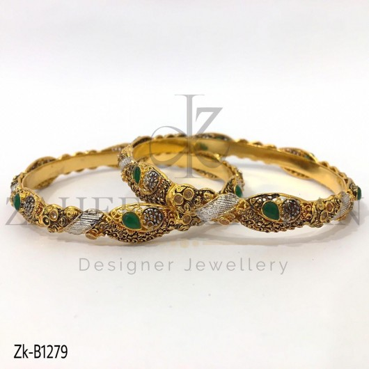 Pear Emerald Antique Bangles
