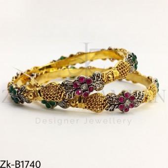 Golden floral bangles