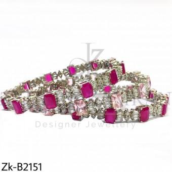 Silver pinkish bangles