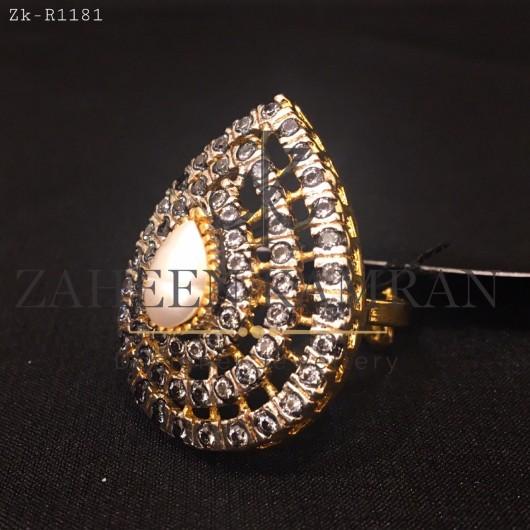 Pearl Zircons Ring