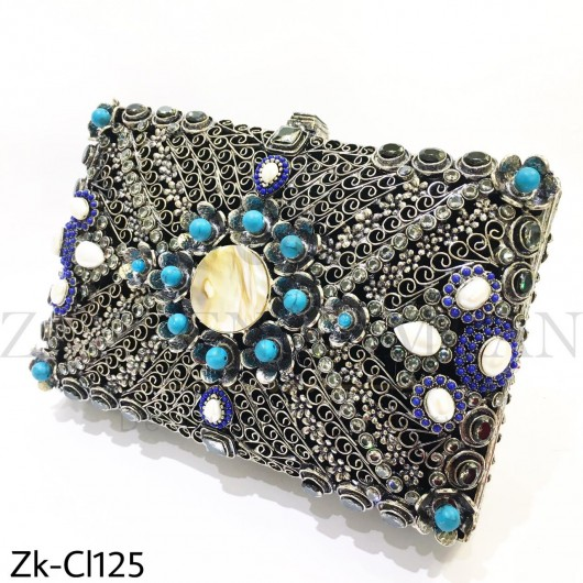 Silver smoked clutch