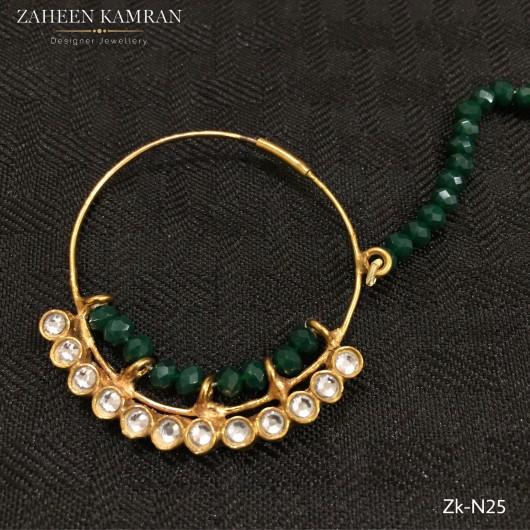 Kundan Emerald Nose Ring!