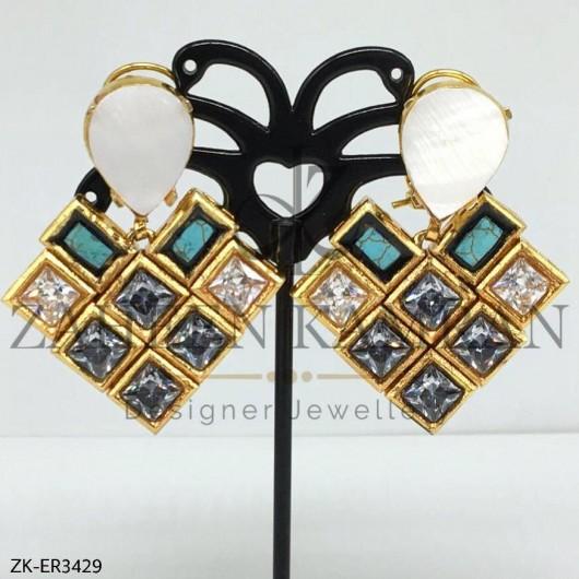 Sea Stone Zircon Earrings