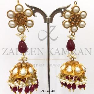 Topaz Pearls Jhumky