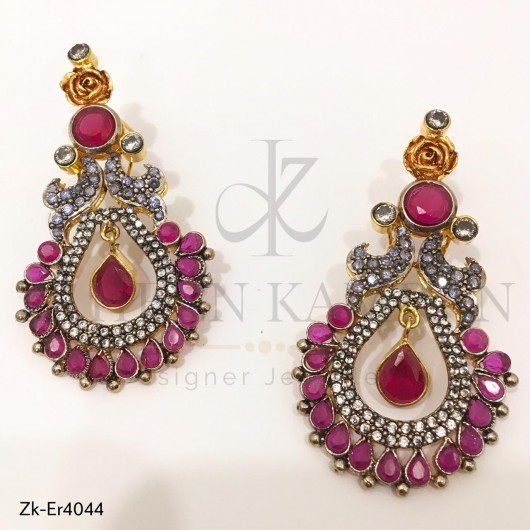 Ruby Flowers Earrings