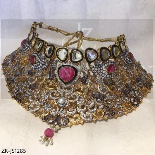 Ruby Zircons Bridal Set