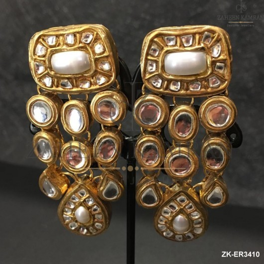 3 Layers Kundan Earrings
