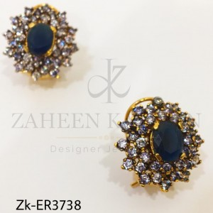 Elegant Floral Earrings Studded with Zircon & Sapphire