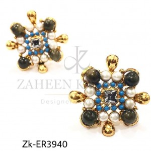 Pearl Zircon Sophistication Beautiful Floral Earrings