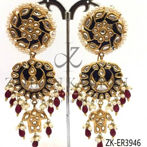 Traditional Wearing Ruby Kundan Danglers