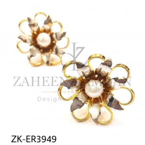 Gold Plated Pearl Sophistication Beautiful Floral Earrings