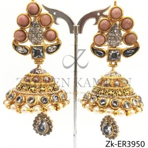 Traditional Gold Plated Zircon Pearl Teardrop Jhumkay