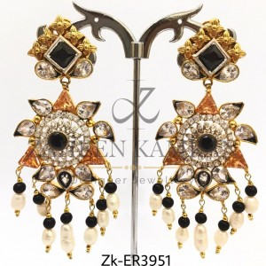 Delicacy Jhumka Earrings with Zircon & Pearls