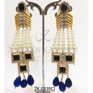 Elegant Mixture of Sapphire & Agate - Pearly Stunning Earrings