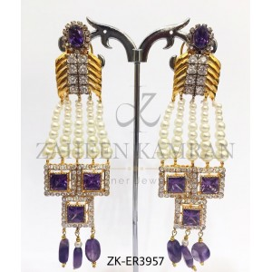 Perfect Creation of Zircon & Pearls - Stunning Amethyst Earrings