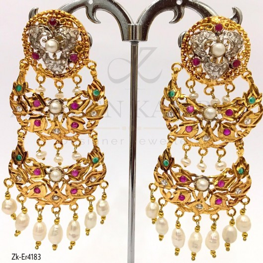 Pearls Pendant Antique Earrings