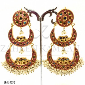 Gold Plated Red Crescent Double Earrings