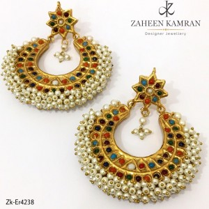 Gold Plated Multi Color Stone Crescent Earrings