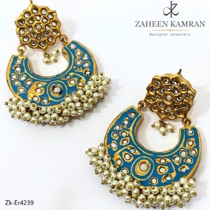 Gold Plated Ferozi Crescent Earrings