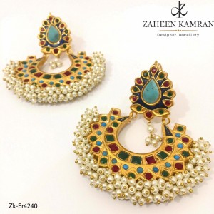 Gold Plated Ruby and Emerald Earrings