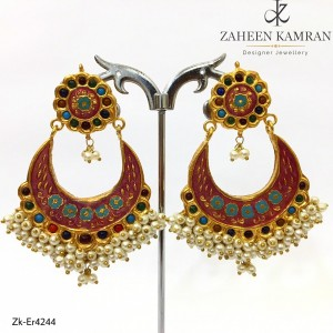 Gold Plated Multi Color Floral and Crescent Earrings