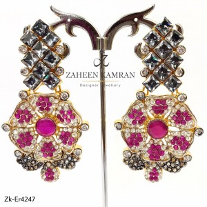 Gold Plated Ruby Floral Earrings