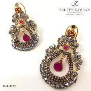 Gold Plated Ruby Pear Pendent Earrings