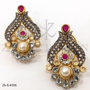 Pink Pear Antique Earrings