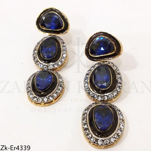 3 Steps Blue Earrings