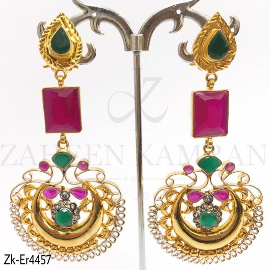 Stunning Ruby Emerald Earrings