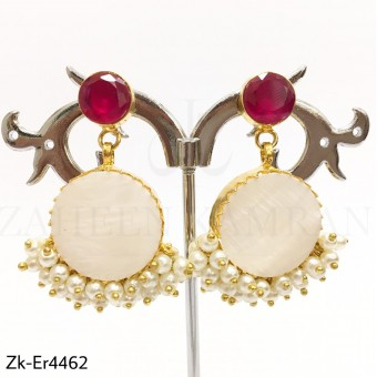 White Stone Ruby Earrings