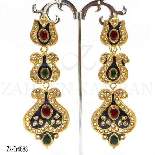 3 Step Ruby Emerald Earrings