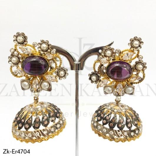 3D Amethyst Antique Topaz Earrings
